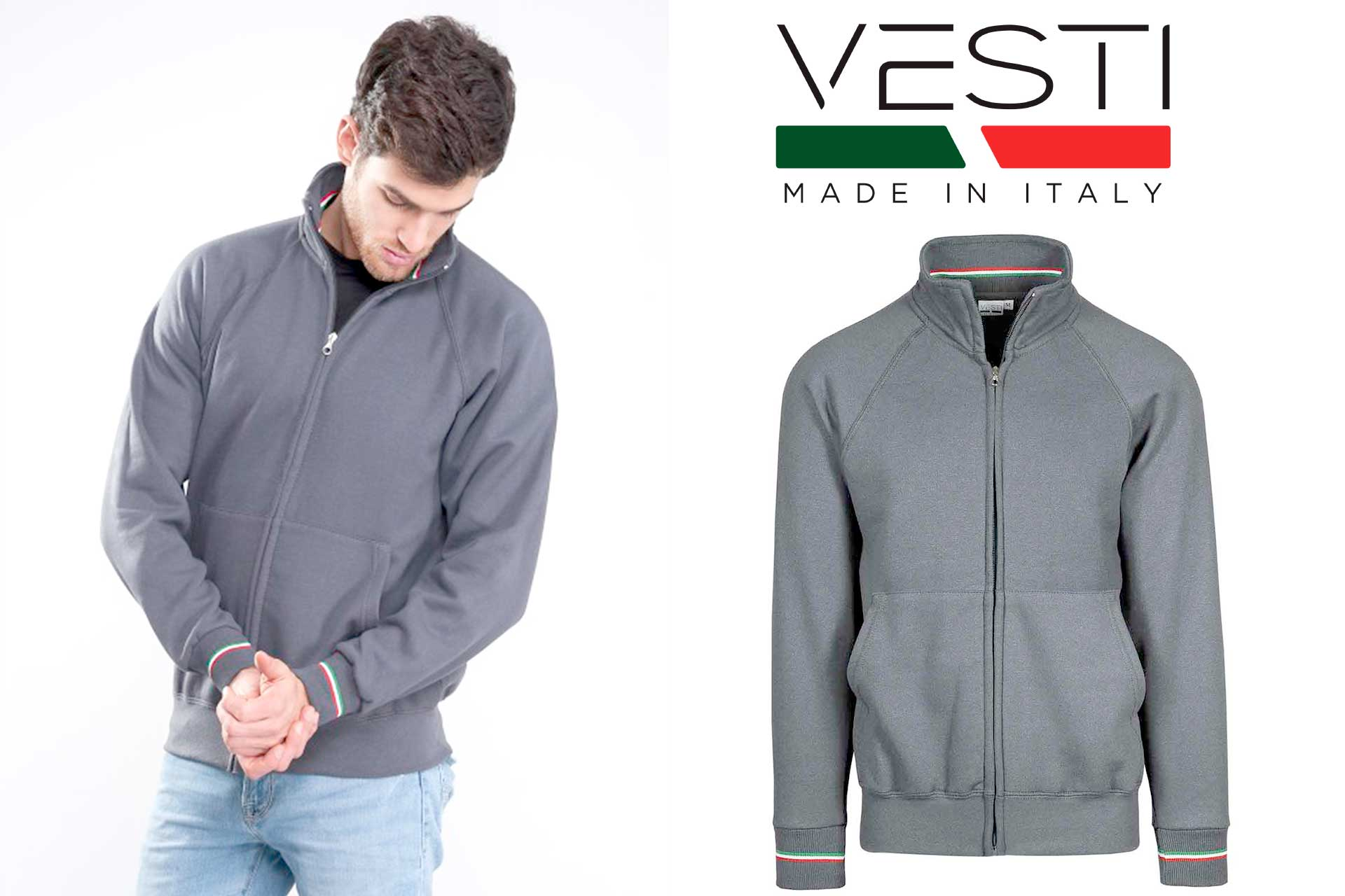 Felpa Vesti IT220 Grigia - Made in Italy - Stampata